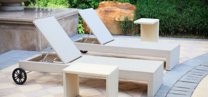 Lounge Rattan Chairs and Desk in the Garden