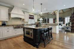 Large Kitchen with Island and White Cabinets