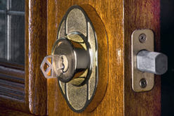 Deadbolt Lock on Mahogany Front Door