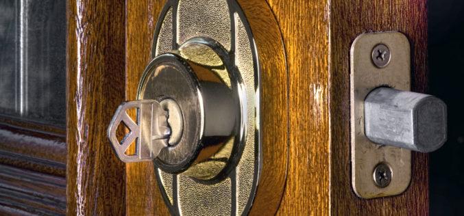 Deadbolt Lock on Mahogany Front Door