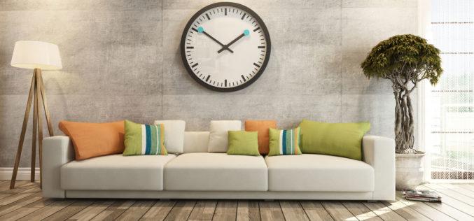 Modern Sofa Underneath Big Wall Clock