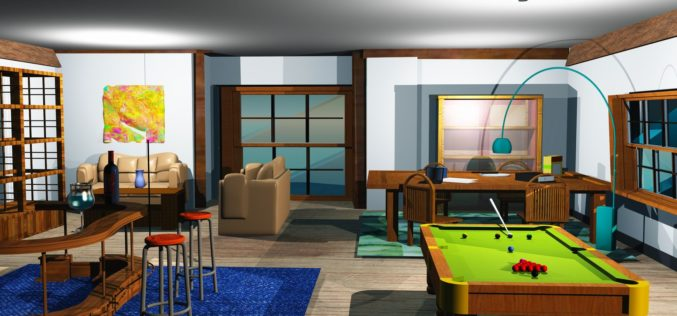 Snooker Room with Billiard Table and Home Bar