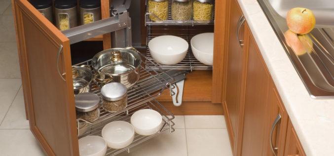 Detail of Open Organized Kitchen Cabinet
