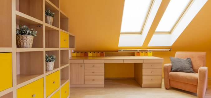Attic Room With Wall Shelving Unit