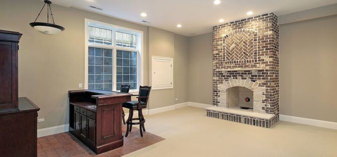 Basement in New Construction With Home Bar