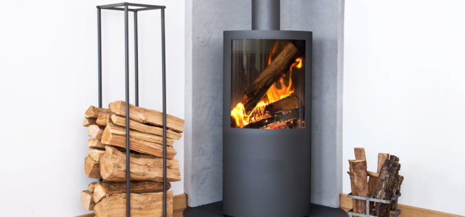 Modern Wood Burning Stove Tucked in Room Corner