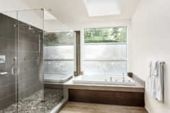 Bathtub with Walk-In Curbless Tile Shower