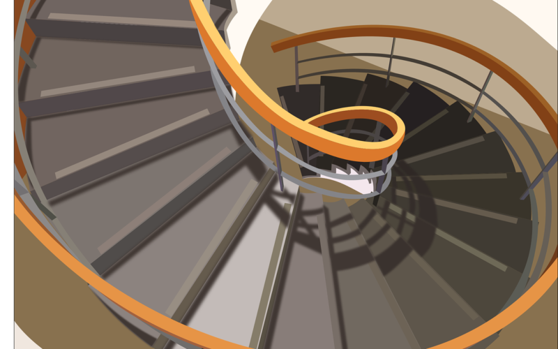 Open Spiral Staircase Connecting the Floor Upstairs