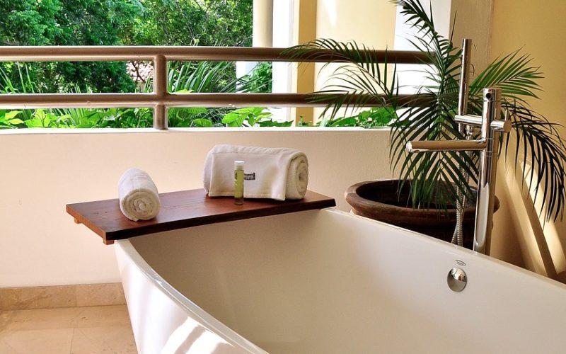 Round Jacuzzi Bathtub on Tiled Floor