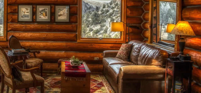For That Rustic Look – A Log Cabin Living Room